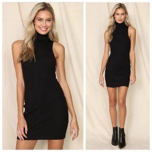 Fashion Nova Black Ribbed Turtleneck Tank Dress